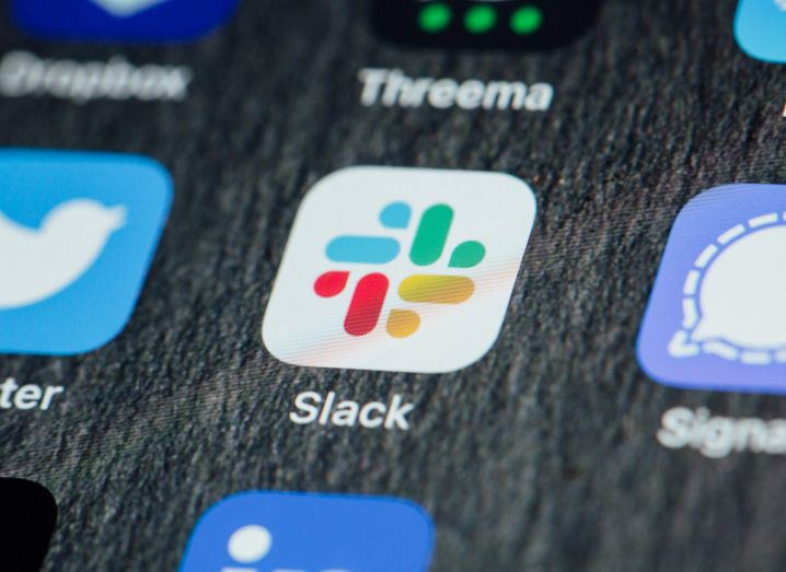 Close-up of Slack app icon on a smartphone home screen.