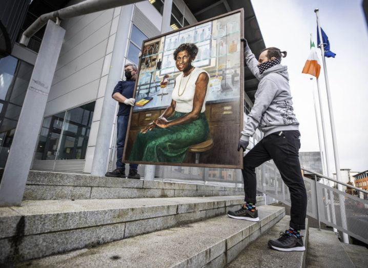 Portrait of Kathleen Lonsdale being carried into a building at DCU for Women on Walls 2021.