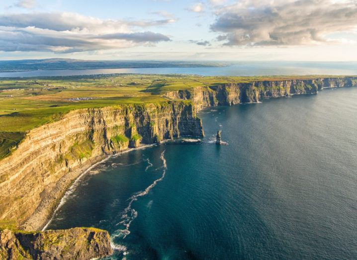 A scenic view of the Cliffs of Moher in Clare, Ireland.