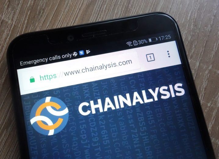The Chainalysis logo is open on a webpage on a smartphone.