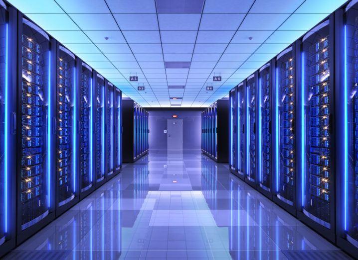 Server racks in a server room inside a data centre.