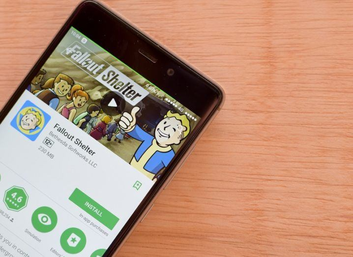 The Fallout Shelter app page is open on a smartphone.