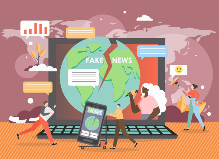 Graphic illustration of a laptop surrounded by small cartoon people and the words 'fake news' on the screen.