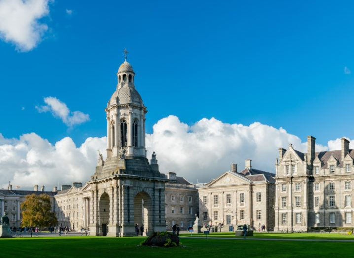 The bell tower in the centre of Trinity College Dublin on a bright sunny day.