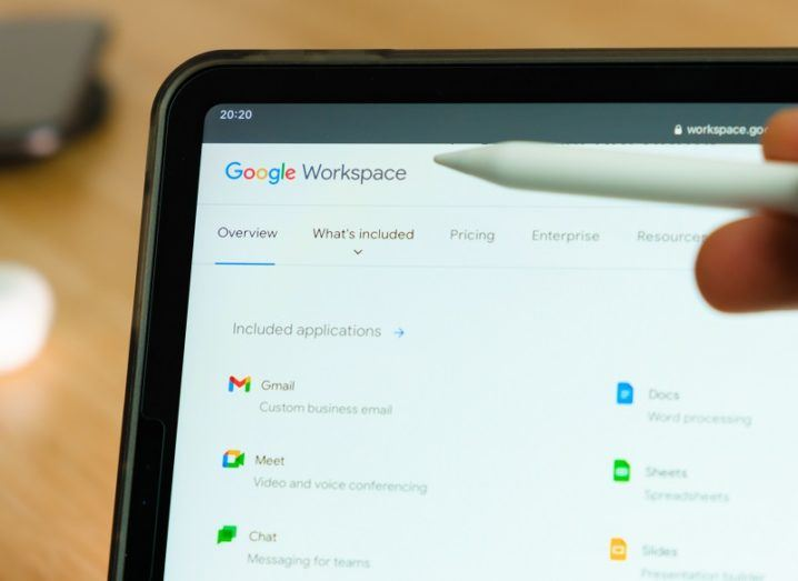 Google Workspace is open on a tablet.