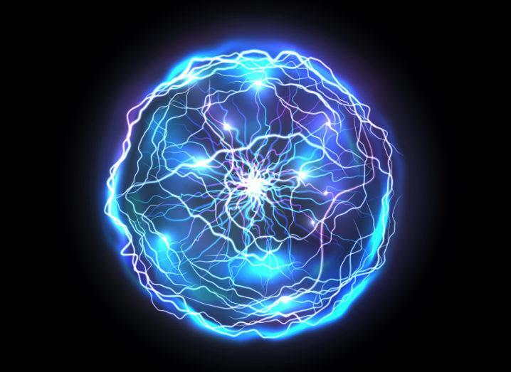Ball of blue light energy symbolising a convergence spawning innovation.