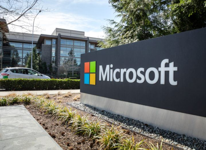 A large sign displaying the Microsoft logo outside the company's headquarters in Washington.