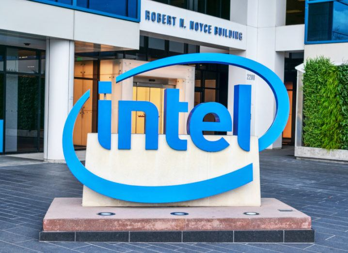 A blue Intel logo on a sign outside one of its offices.
