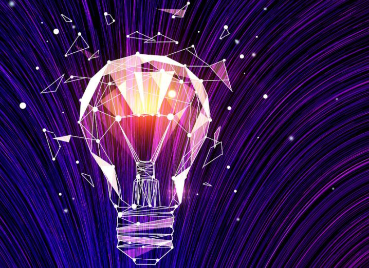 A graphic of a purple lightbulb bursting with light, symbolising ideas and disruptive technologies.