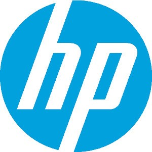 A blue HP logo.