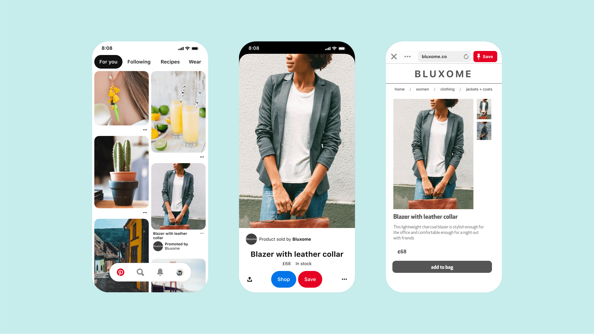 Three phone screens showing Shopify shopping features on Pinterest.