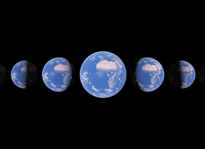 Images from Google Earth of the planet at different points.