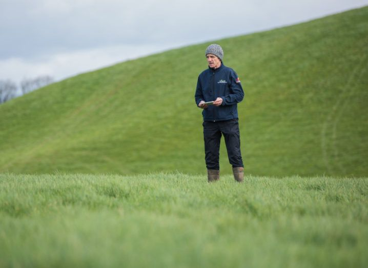 Photograph of a farmer standing in green fields in rural Ireland.