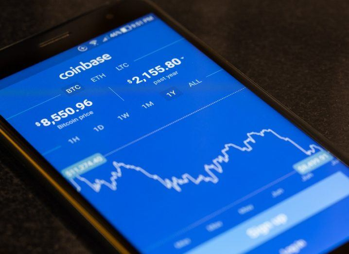 Coinbase app on a smartphone.