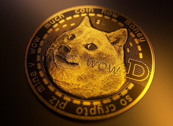 A Dogecoin featuring a large image of a dog on a golden coin.