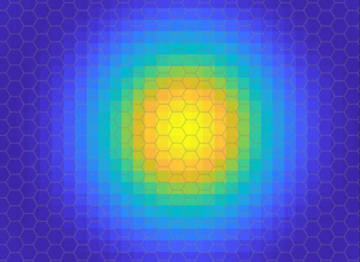 Image of an electron's orbit probability cloud in an exciton.