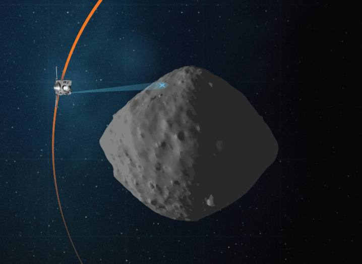 A concept image of NASA's OSIRIS-REx mission taking images of the asteroid Bennu.