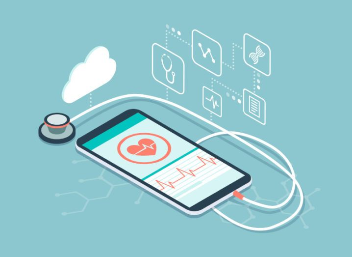 A graphic of a smartphone with health data on it, while a stethoscope lies beside it, symbolising life sciences data.