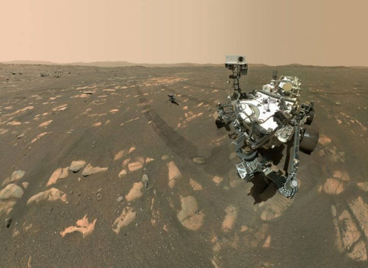 Photo from Mars of the Perseverance rover and Ingenuity helicopter.