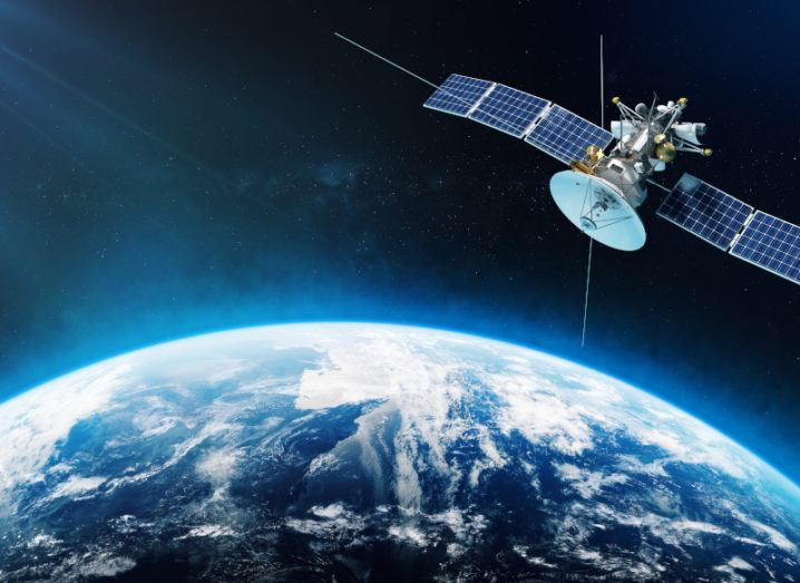 A space satellite is orbiting the Earth.