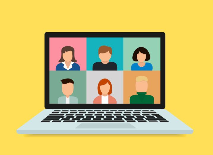 A colourful graphic of a laptop with six people on the screen.