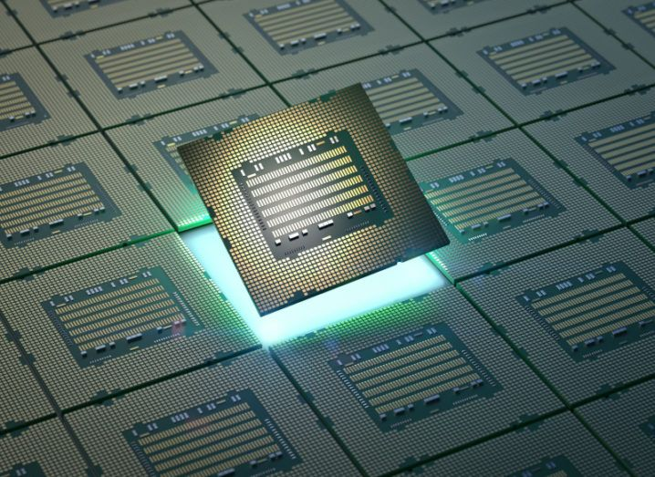 3D rendering of a chip for semiconductor manufacturing.