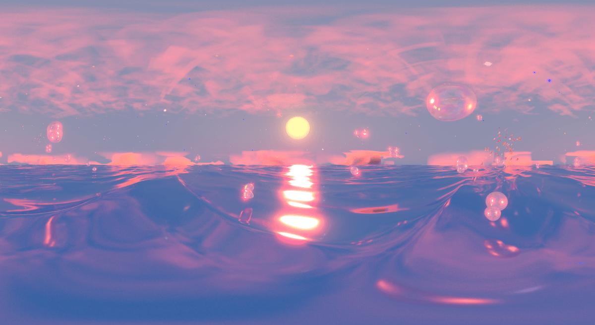 Une image de bulles à la surface de l'océan au coucher du soleil dans des teintes roses et violettes.