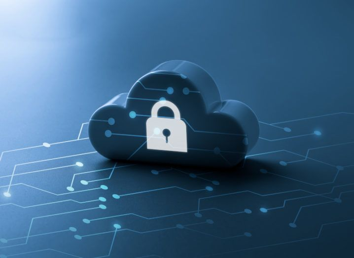 A dark 3D cloud with a white padlock symbol on it sits on a blue surface with several connection points mapped out.