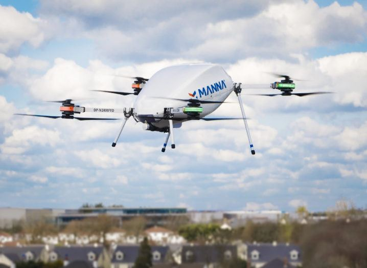 Manna drone operating in Oranmore Galway.