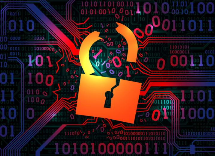 A graphic of a broken gold padlock against a background of binary code, symbolising the HSE cyberattack.