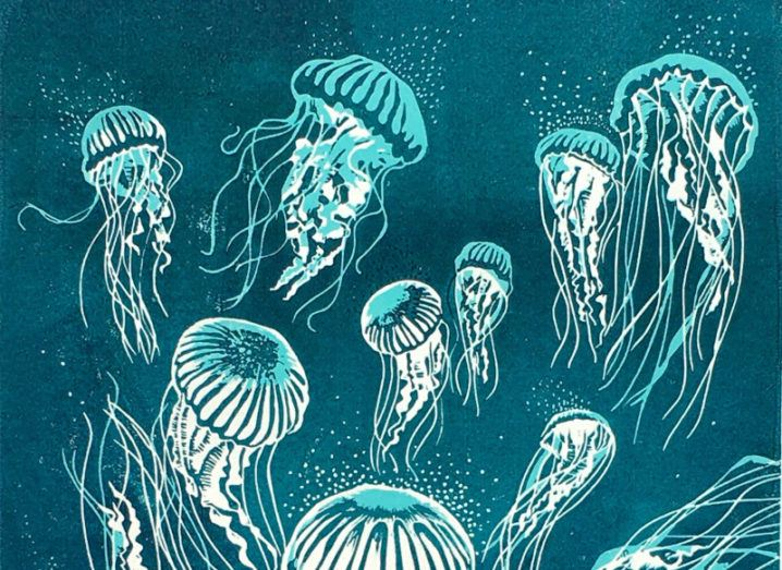 An artwork from one of the projects at the virtual SFI exhibition shows jellyfish glowing against a dark teal background.