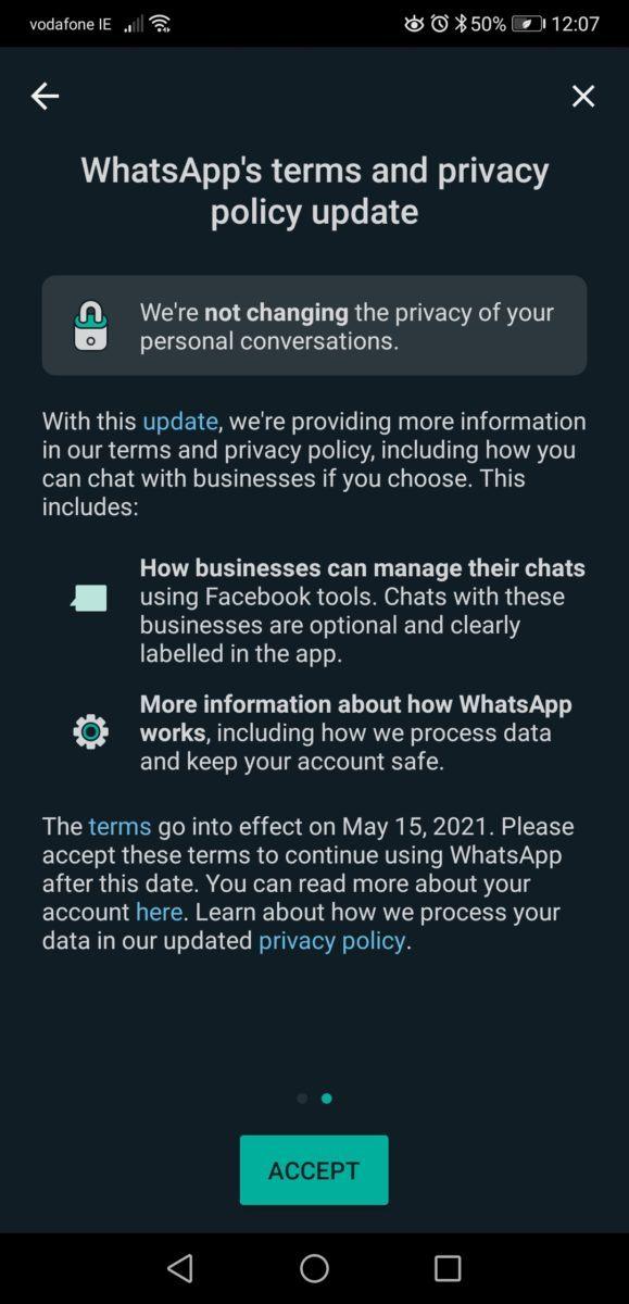 Message envoyé aux utilisateurs de WhatsApp concernant les mises à jour de l'application