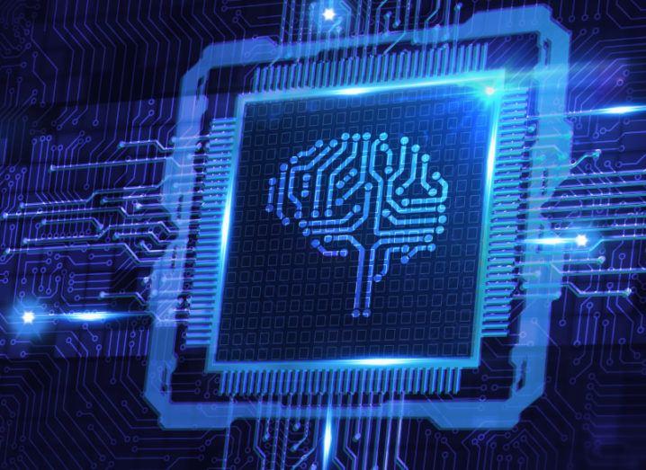 An image of a brain on a digital microchip.