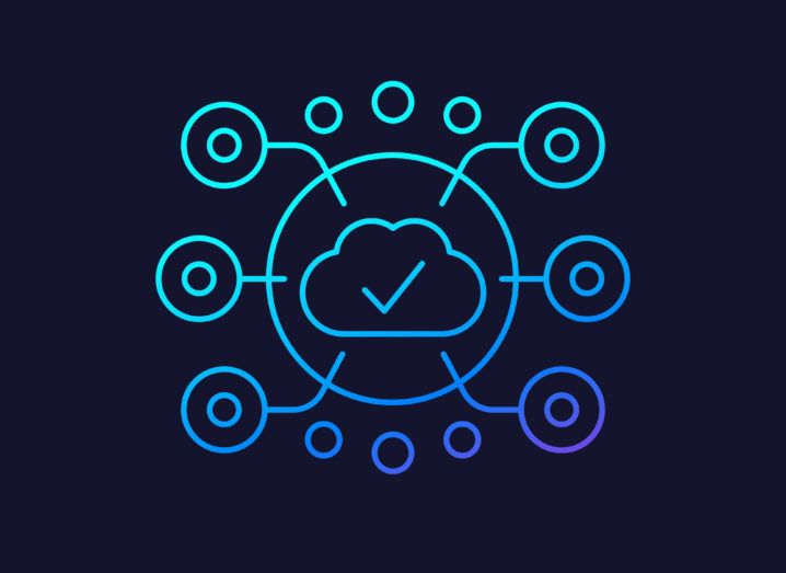 A vector of a blue cloud outline with six circles connected to it, representing AI, edge computing and connectivity.
