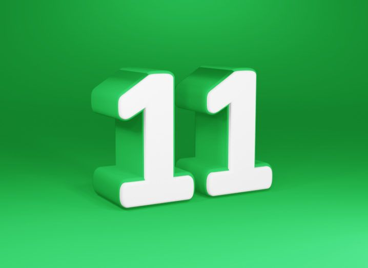 3D rendering of the number 11 on a green background.
