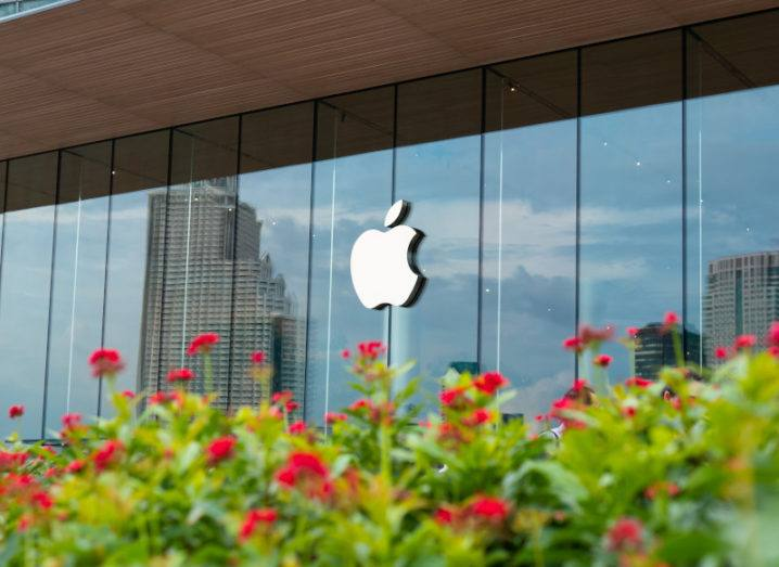 The Apple logo on a glass building on a sunny day. There is a line of greenery with red flowers in the foreground of the picture.