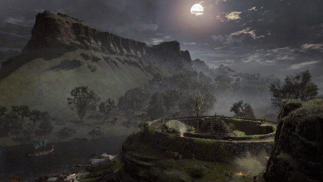 Une montagne au sommet plat se dresse contre un ciel nocturne, avec un fort circulaire visible au premier plan.