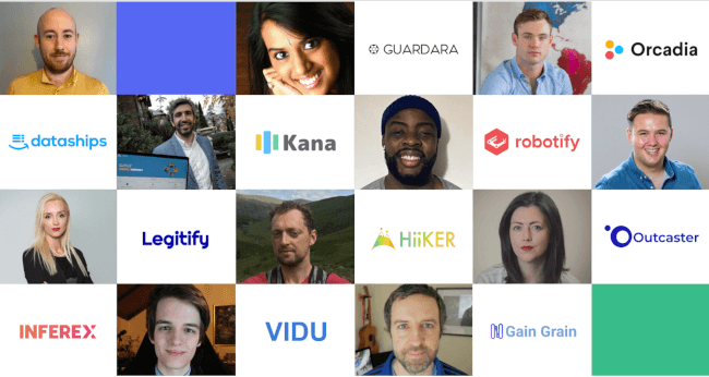 A grid containing images of 11 founders of the new NDRC cohort of start-ups and their company logos.