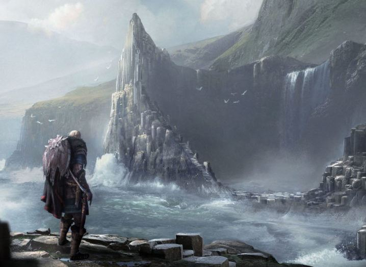 A Viking with weapons on his back stands in front of the Giant's Causeway. The surrounding water is storming, and birds fly overhead, but the Viking remains unperturbed. Behind the Causeway are hills, covered in a mysterious fog.