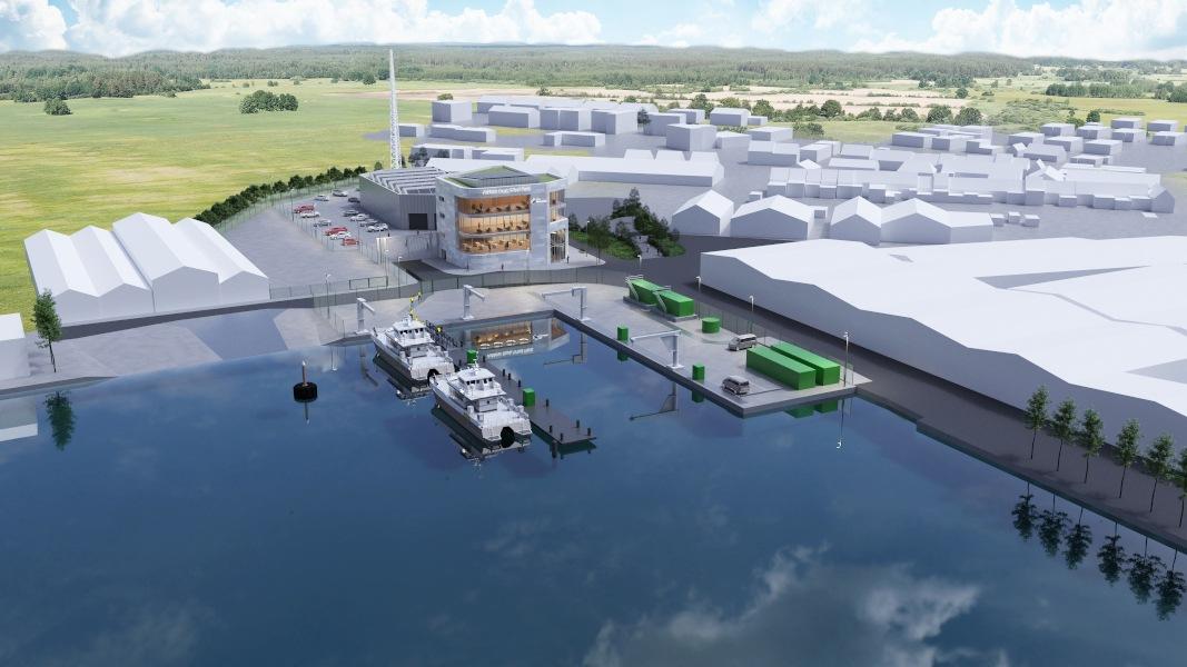 Une image construite du bâtiment d'entretien du parc éolien, avec un quai et des bateaux à l'extérieur.