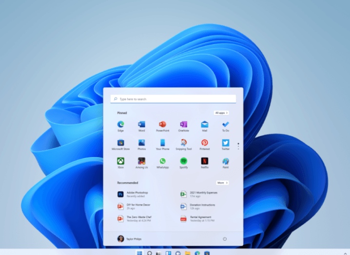 A screenshot of the new Windows 11 system, with a start panel open in the middle of the screen.