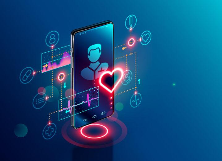 It is an image of a phone against a blue background. There is a digital person on the phone screen, with images of hearts, pills and other health-related icons coming from the phone.