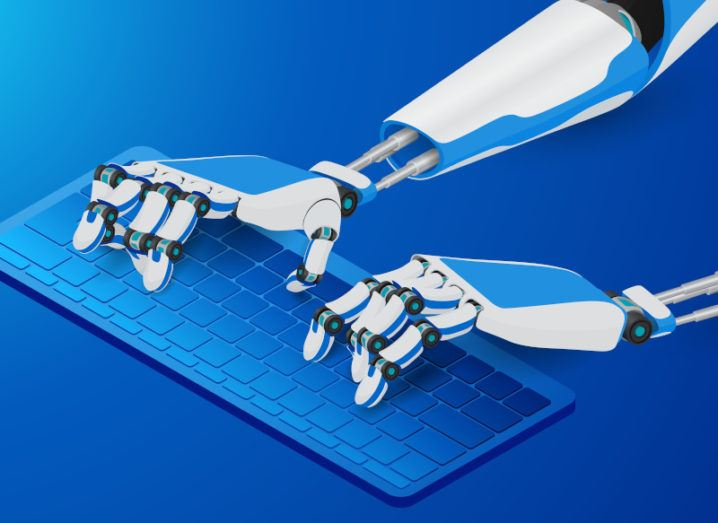 Illustration of robot hands typing on a computer keyboard.