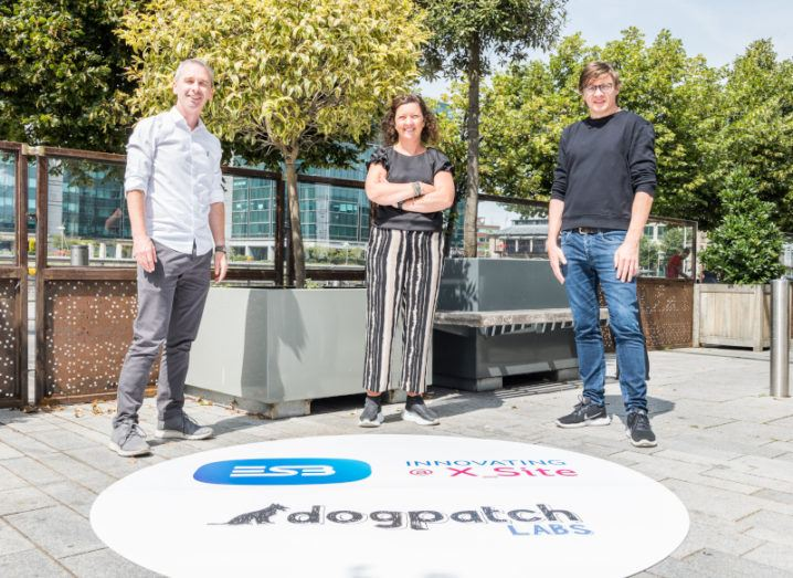 David Power of Dogpatch Labs, Geraldine Moloney of ESB and Patrick Walsh of Dogpatch Labs pictured outside on a sunny day.