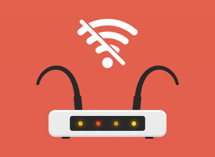 Illustration of a router with two aerials that are sagging. A symbol above the router signifies that there is no Wi-Fi connection.
