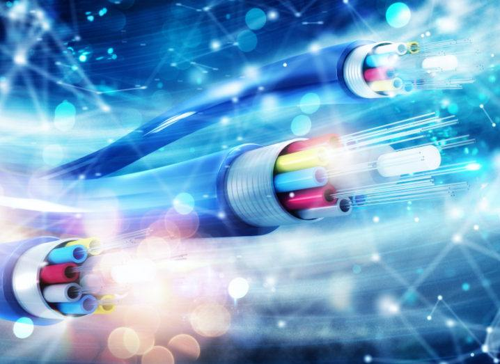 A stylised image of fibre optic cables.