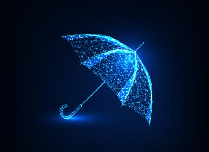 Illustration of an umbrella made of connected data points glowing bright blue on a dark blue background.