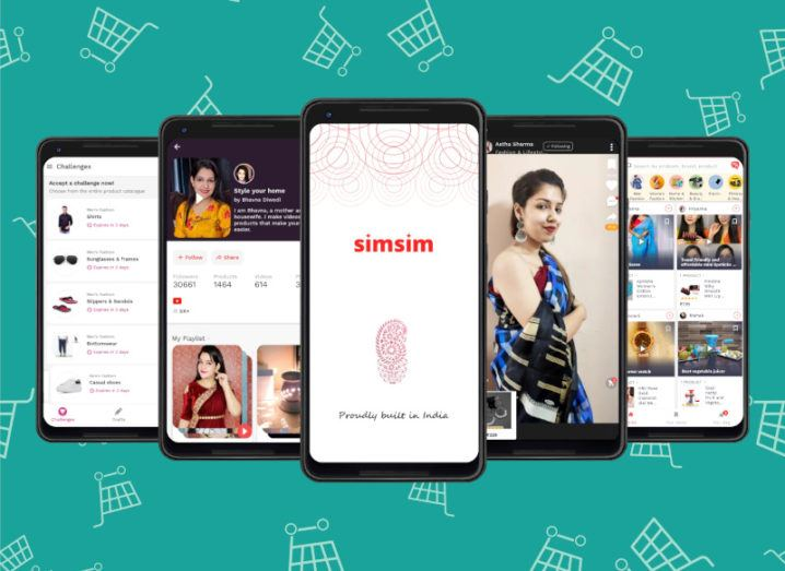 An array of smartphones showing different screenshots from the Simsim app, including video playback and social commerce features to enable purchases.