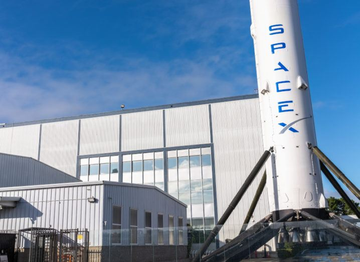 Image of the Falcon 9 rocket, owned by Space X, pictured outside SpaceX's headquarters.