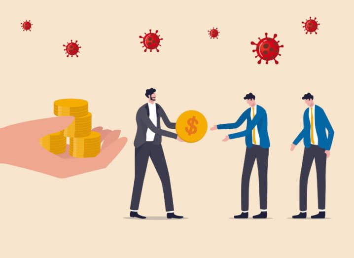 Graphic featuring a giant outstretched hand containing a pile of gold coins as though it is offering them. A business man beside the hand in the centre of the image offers a coin with a dollar sign to two other business people who receive it gratefully. Viral clouds of Covid-19 float over their heads.